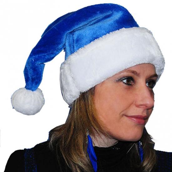 Blauwe kerstmuts van pluche