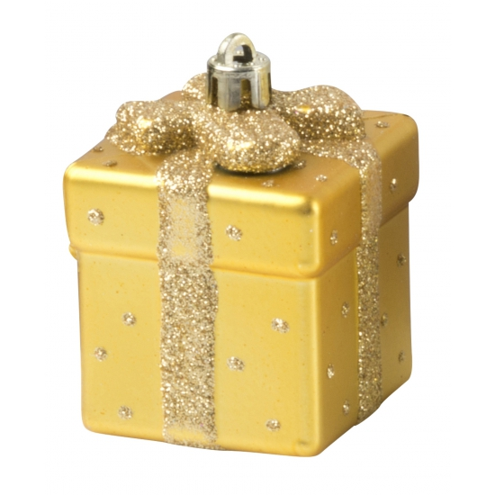 Cadeau kerstbal goud 9 cm