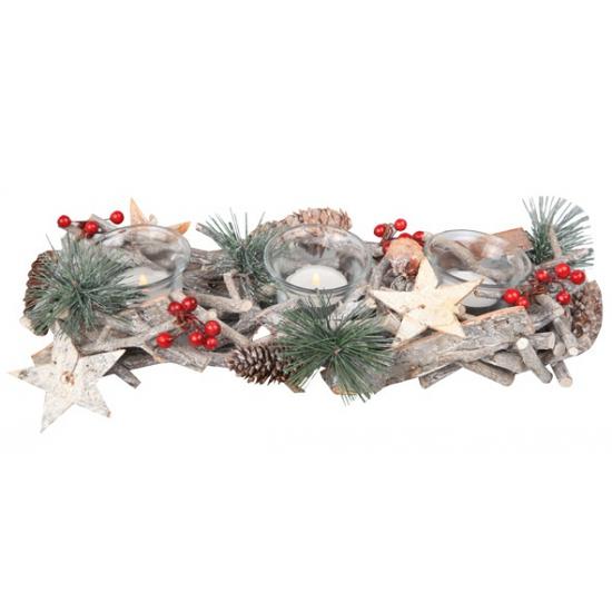 Decoratie kerststukje wit met glazen houders