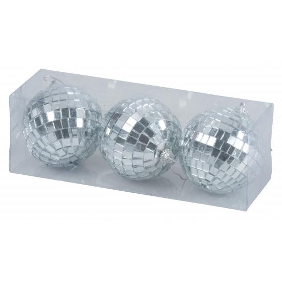 Disco kerstballen zilver 7 cm