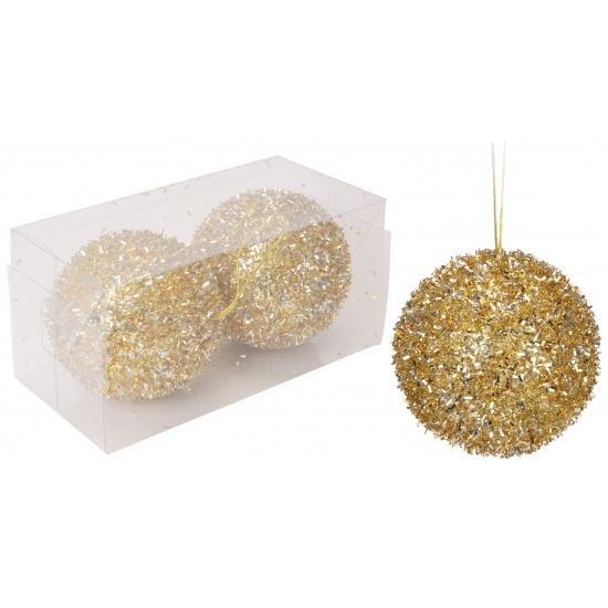 Glitter kerstballen goud 8 cm