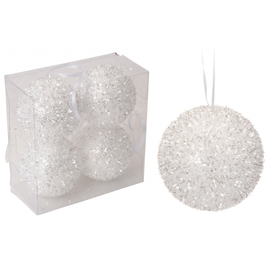 Glitter kerstballen wit 6 cm