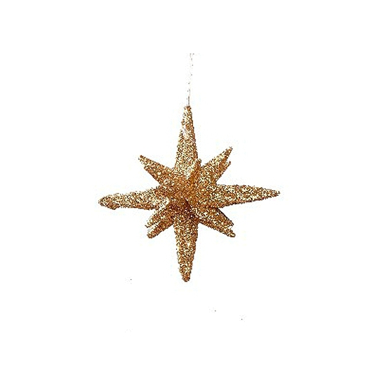 Gouden glitter 3D ster 7,5 cm