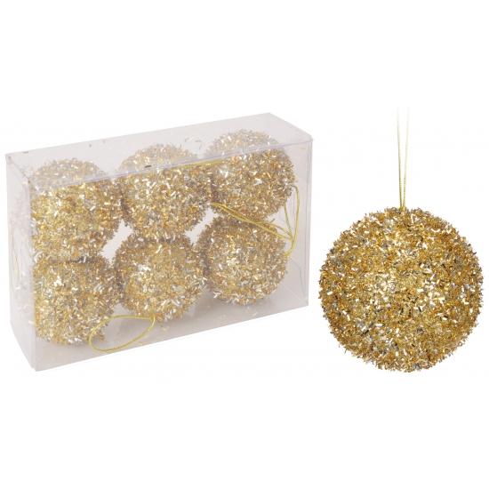 Gouden glitterbol kerstballen 6 stuks