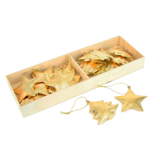 Gouden kerst ornamenten in doosje