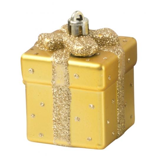 Gouden kerstbal in cadeau vorm 9 cm