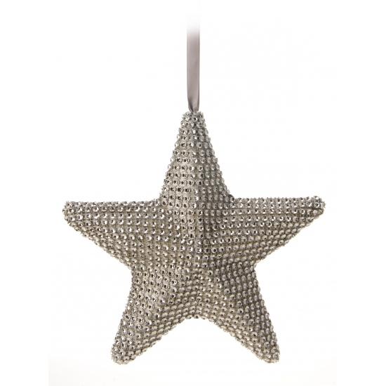 Grijs kerst hangdecoratie hartje 21 cm