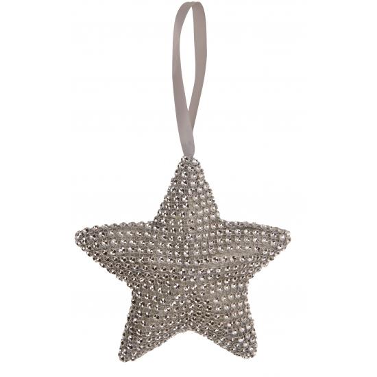 Grijze kerstboom hanger ster 15 cm