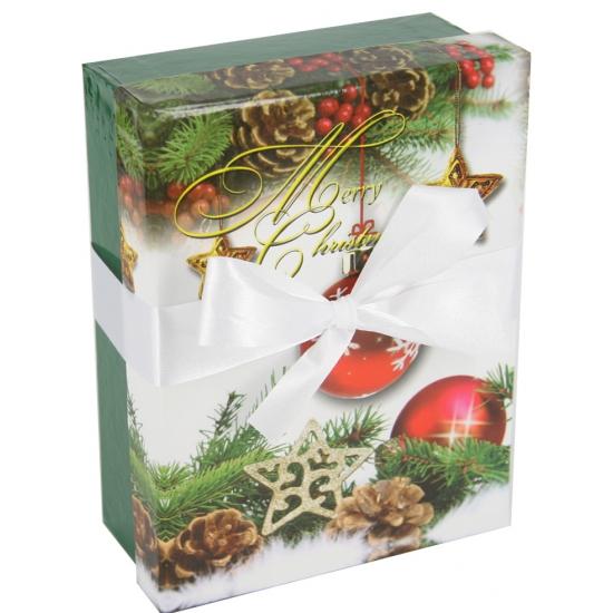 Groen kerst decoratie cadeautje met lint