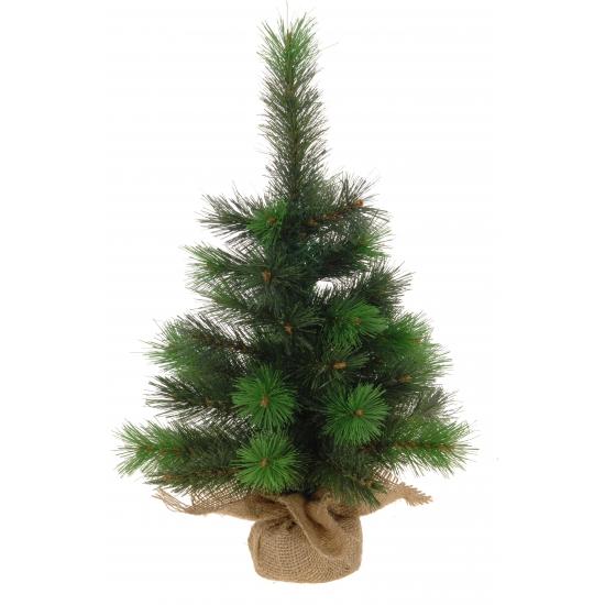 Groene kerstboom met jute zak 45 cm