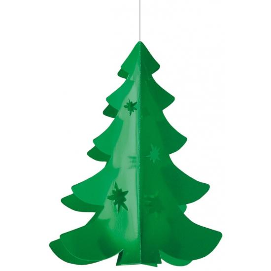 Hangdecoratie kerstboom groen 35 cm