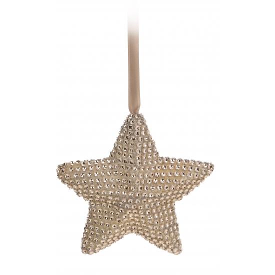 Hangdecoratie ster met steentjes 15 cm