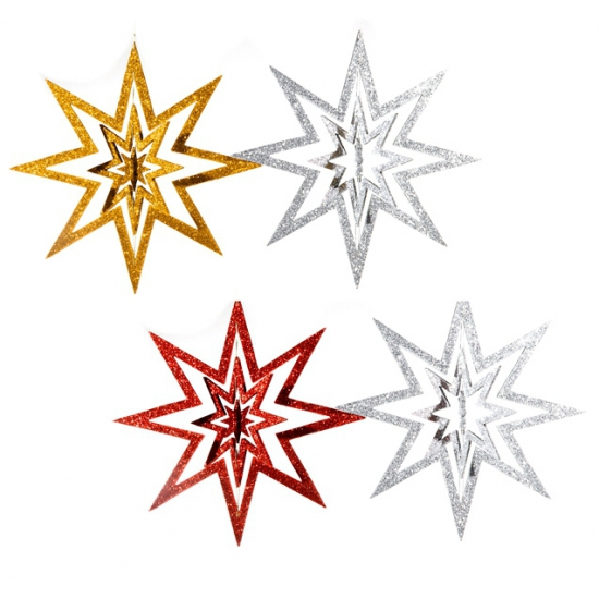 Hangende ster versiering 22 cm