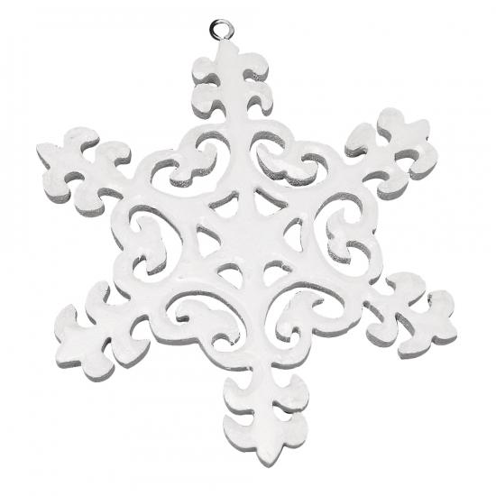 Houten sneeuwvlok ornament 10 cm