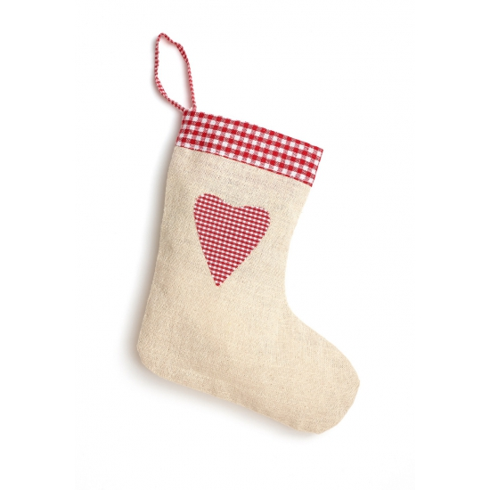 Jute kerstsok met hart