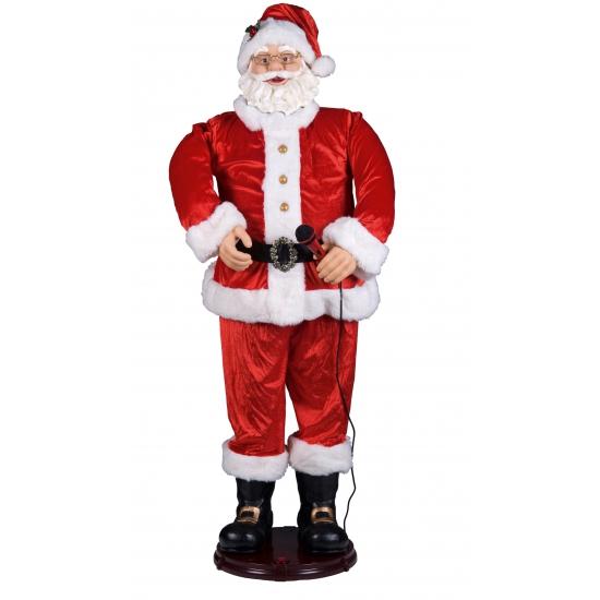 Karaoke kerstman met microfoon