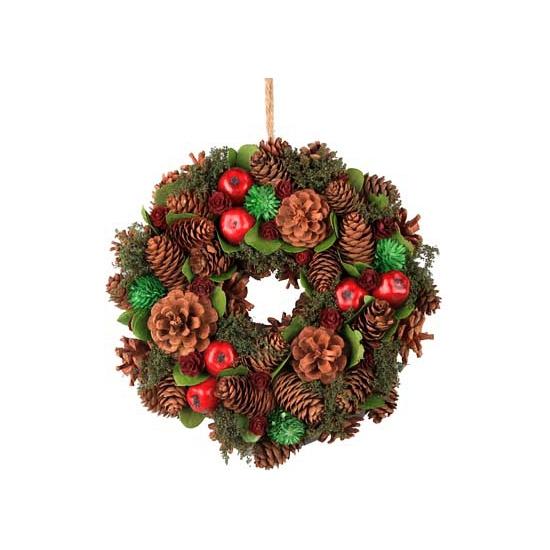 Kerst decoratie krans groen/rood 26 cm