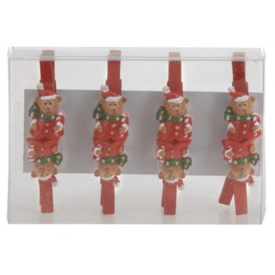 Kerst thema wasknijpers kerstbeer 8 stuks