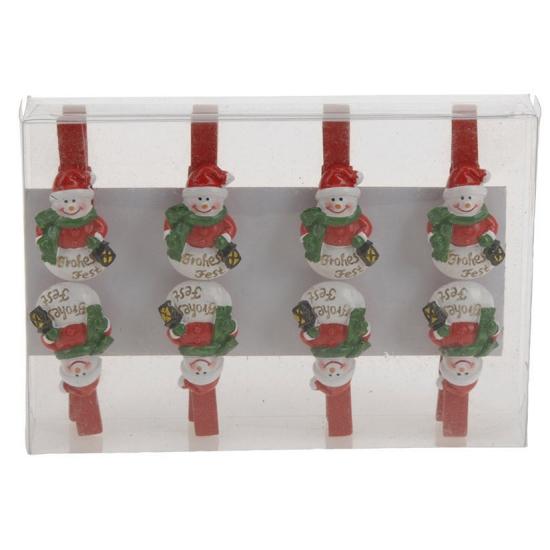 Kerst thema wasknijpers sneeuwpop 8 stuks