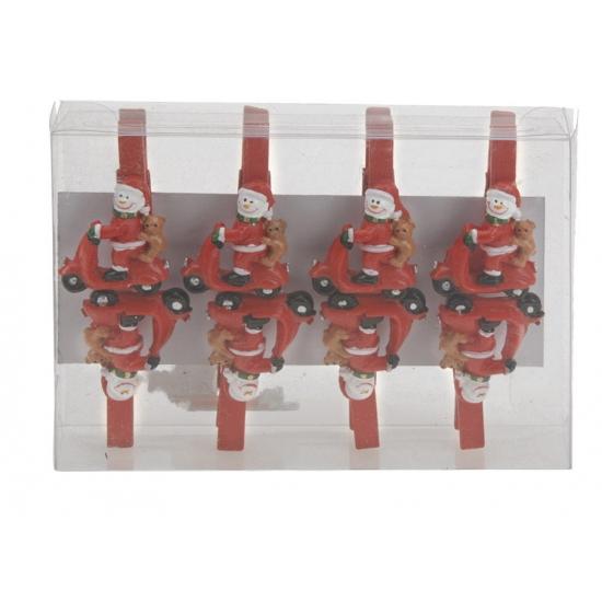 Kerst thema wasknijpers sneeuwpop op scooter 8 stuks