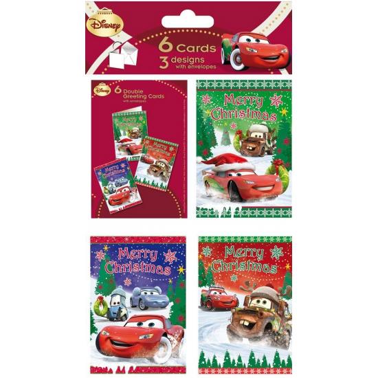 Kerstkaarten van Cars 6 stuks