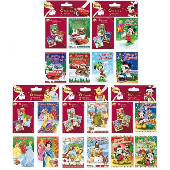 Kerstkaarten van Mickey Mouse 6 stuks