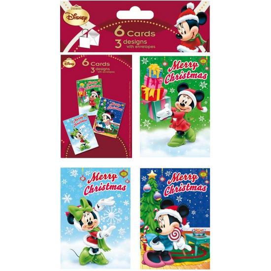 Kerstkaarten van Minnie Mouse 6 stuks