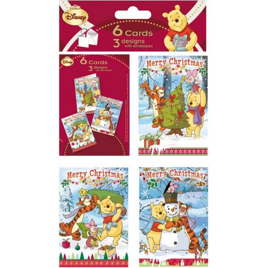 Kerstkaarten van Winnie de Poeh 6 stuks