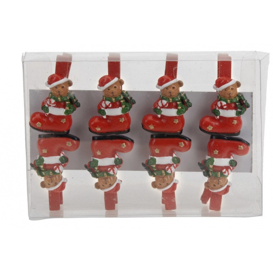 Kerstknijpers beer in sok 8 stuks