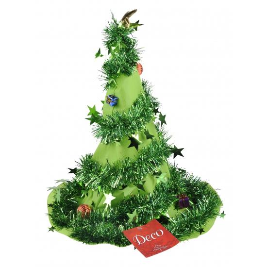 Kerstmuts versierde boom