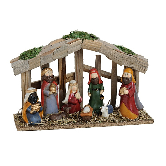 Kerststal met 8 figuren van aardewerk