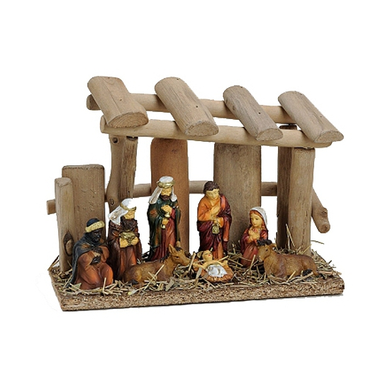 Kerststal van aardewerk 20 cm