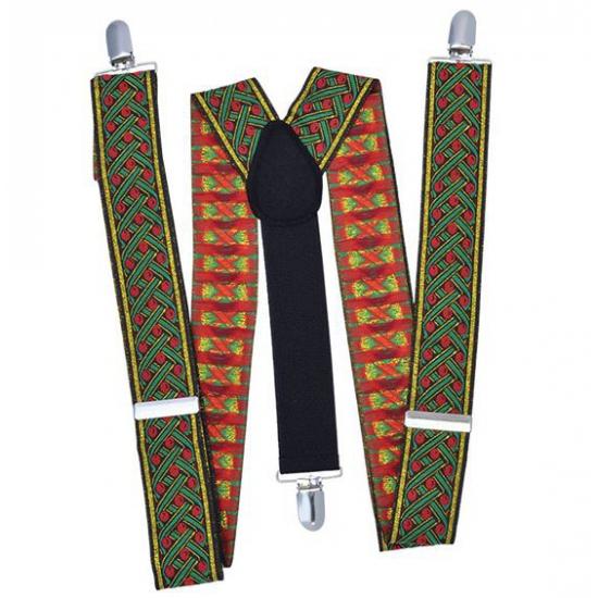 Kruispatroon bretels groen met rood
