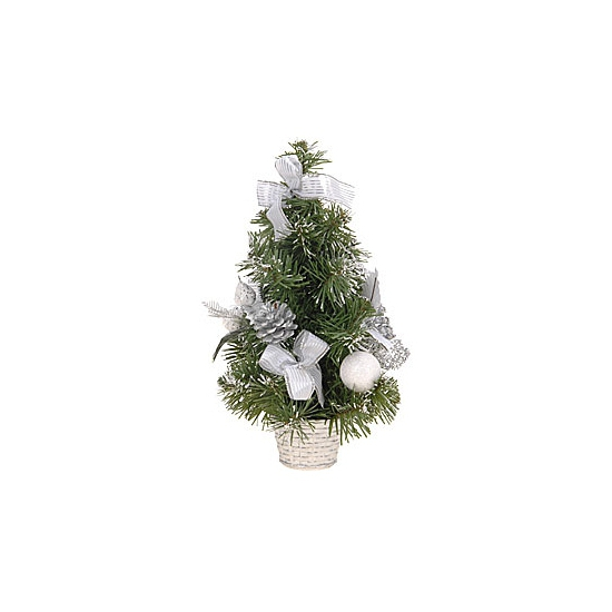 Kunstkerstboom met zilveren decoratie 30 cm