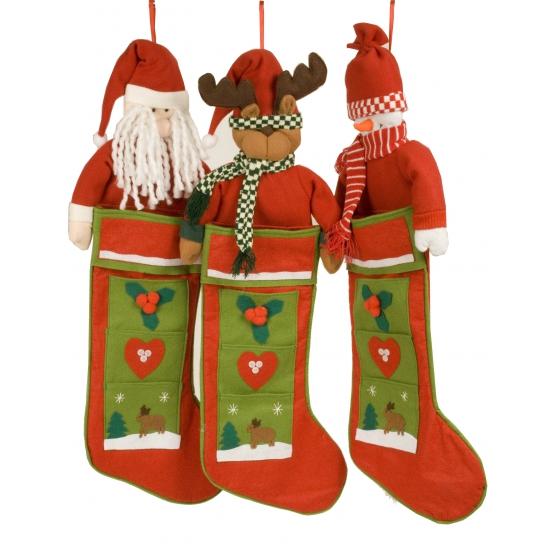 Luxe kerstsok met rendier 80 cm