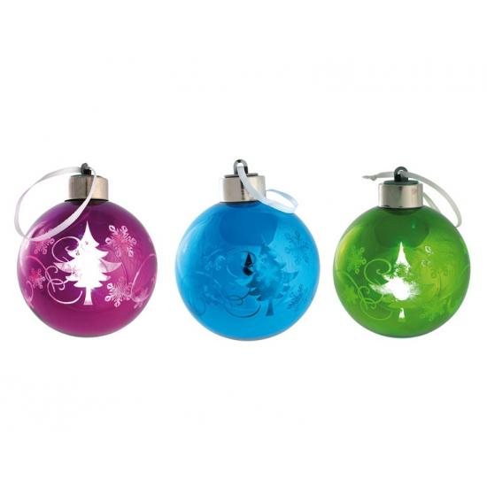Plastic kerstballen met licht