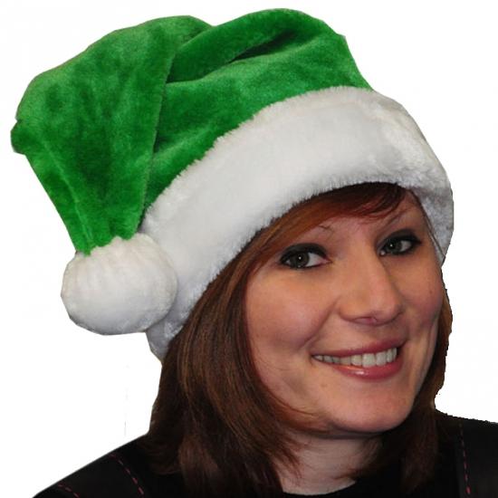 Pluche kerstmuts groen