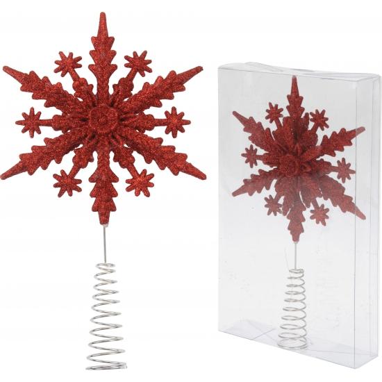 Rode kerstboom piek sneeuwvlok