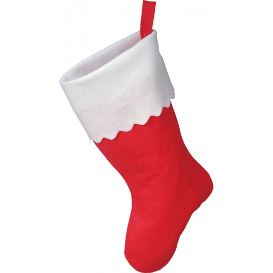 Rode kerstsok met witte rand 40 cm