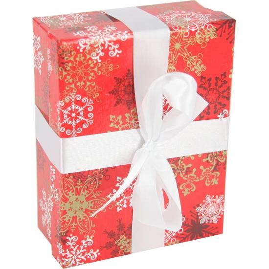 Rood kerst decoratie cadeautje met lint