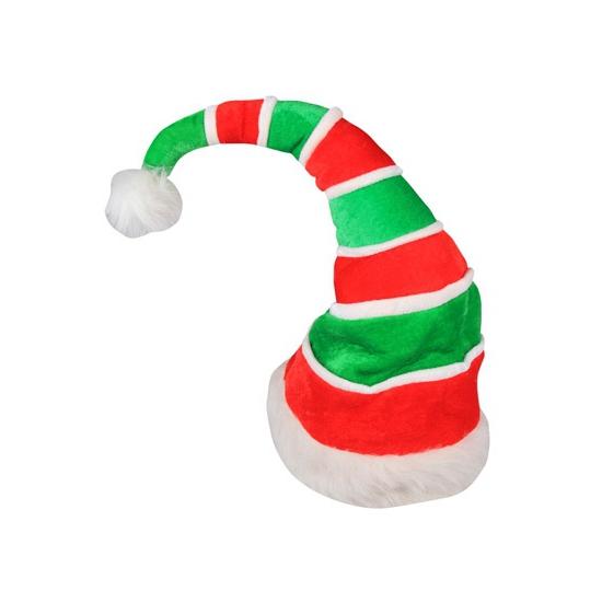 Rood met groen gestreepte kerstmuts