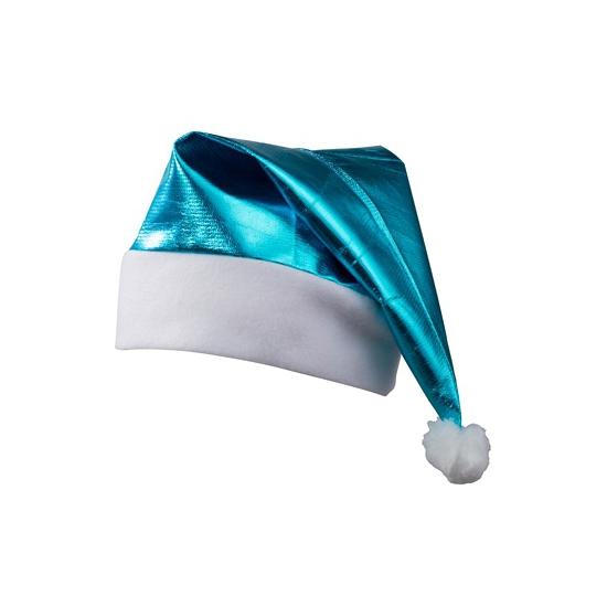 Shiny kerstmuts turquoise blauw