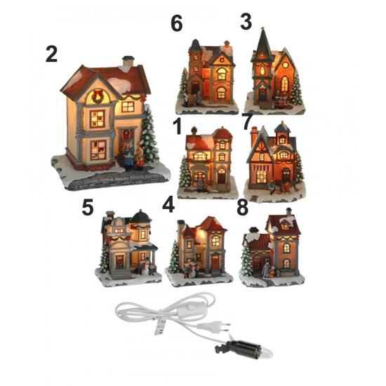 Winter huisje met LED lampje Nr. 8