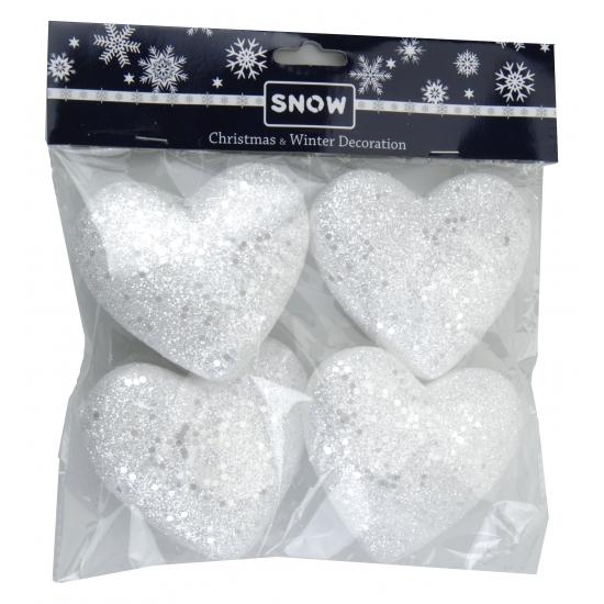 Witte deco sneeuw hartjes 4 stuks
