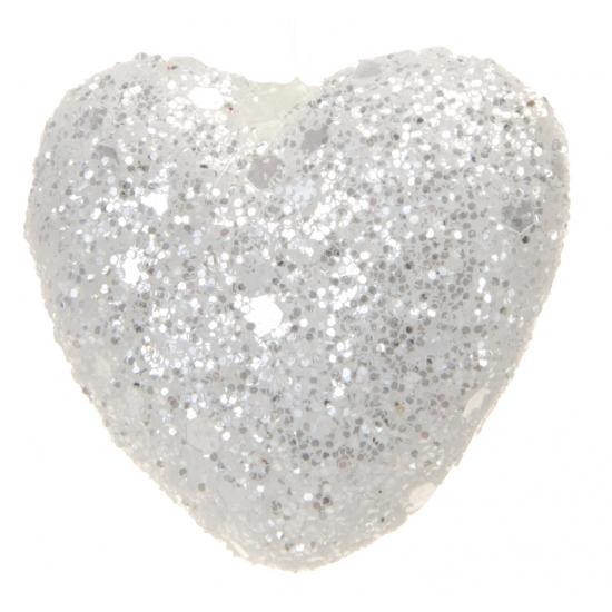 Witte glitter deco hartjes 4 cm