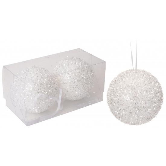 Witte glitterbol kerstballen 8 cm