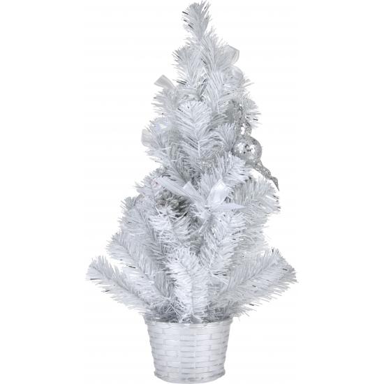 Witte kerstboom met versiering 50 cm