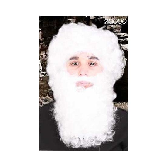 Witte kerstman baard met snor