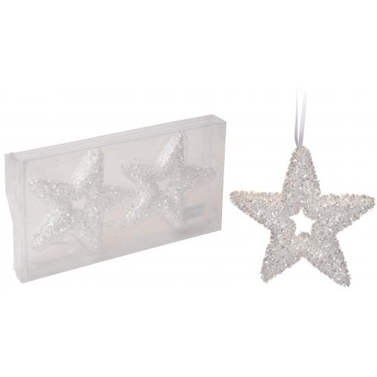 Witte ster kerstboom hangers 13 cm