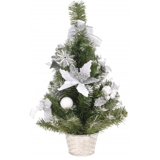 Zilveren kerstboom met deco 50 cm